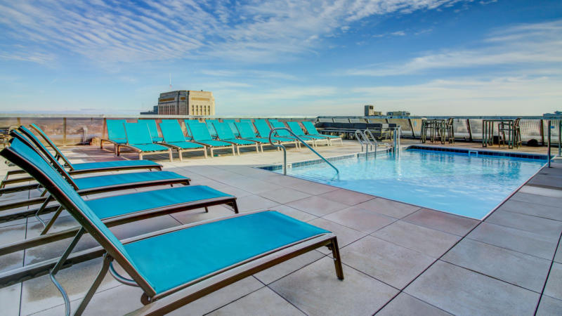 View of pool on rooftop of The Grand apartment building.